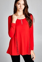 Red Criss Cross Lace Top