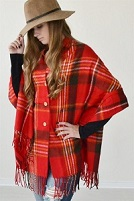 Red Plaid Cape Poncho