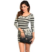Light Grey And Black Geometric Pattern Dress