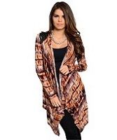 Black Brown And Mustard Tie Dye Print Cardigan
