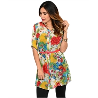 Floral Shirt Dress Tunic