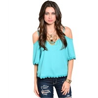 Cold Shoulder Emerald Top