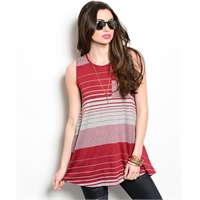 Burgundy And Grey Striped Sleeveless Top