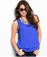 Royal Blue Tuxedo Back Top