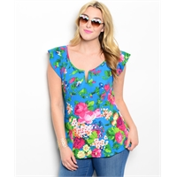Plus Size Fun Floral Flutter Sleeve Top