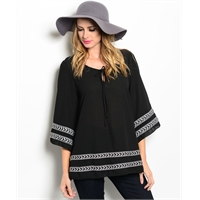 Boho Chic Black Peasant Top