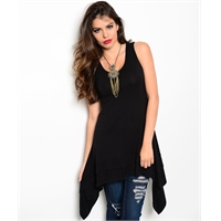 Black Asymmetrical Hem Top