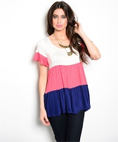 Color Block Tier Flutter Sleeve Top