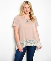 Plus Size Light Mocha With Lace Top