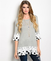 Light Gray Tunic Top With Flouncy Hem