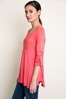 Coral Long Sleeve Tunic With Lace Bodice