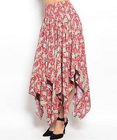 Red Pattern Handkerchief Skirt