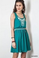 Sea Green Fit And Flare Dress