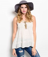 Boho Off White Sleeveless Top