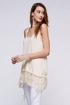 Sleeveless Light Beige Lace Bottom Tank