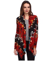 Red Tribal Waterfall Cardigan
