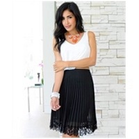 Black Accordian Midi Skirt