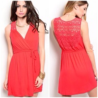 Red Dress With Crochet Back