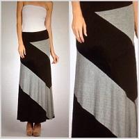 Color Block Black and Gray Maxi Skirt