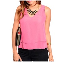Coral Pink Hi-Low Sleeveless Top