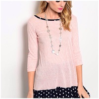 Light Pink Top With Navy And White Polka Dot Flounce Hem