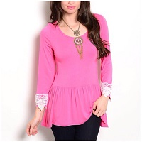 Pink Dropped Waist Long Sleeve Lace Trimmed Top