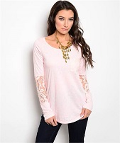 Pink Long Sleeve With Lace Insert Top