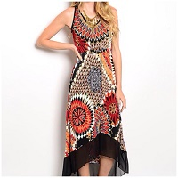 Black Orange Red Pattern Hi/Low Maxi Dress