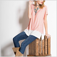 Coral And White Tunic Top