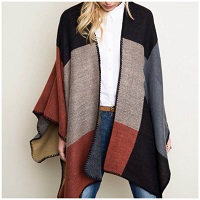 Mocha And Mustard Color Block Poncho