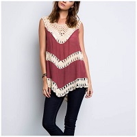 Rust Color Boho Sleeveless Top With Crochet Insert