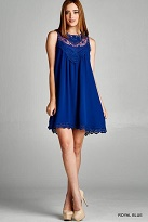 Royal Blue A-Line Lace Yoke Dress