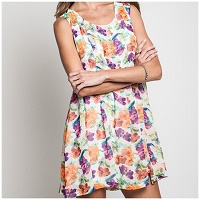 Floral Print Shift Sleeveless Dress