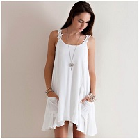 Off White A-Line Sleeveless Lace Strap Dress
