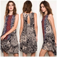 Tribal Black Mix Tank Dress