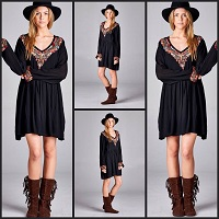 Bohemian Style Black Dress With Embroidery