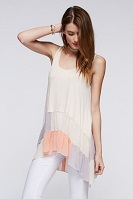 Coral Color Block Chiffon Tank With Ruffle