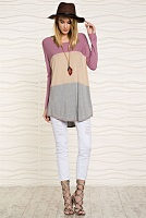 Soft Color Block Long Sleeve Mauve Tan And Gray Tunic Top