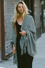 Black & White Houndstooth Oversize Scarf