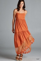 Desert Orange Spaghetti Strap Maxi Dress
