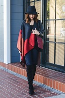 Navy And Red  Color Block Blanket Poncho